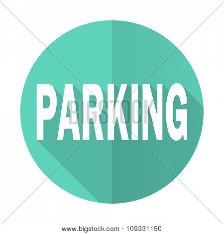 parking blue web flat design circle icon on white background