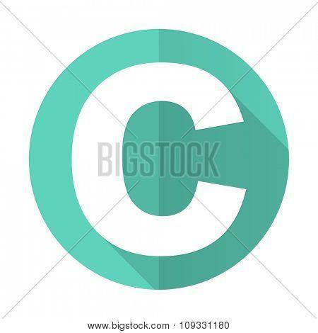 copyright blue web flat design circle icon on white background