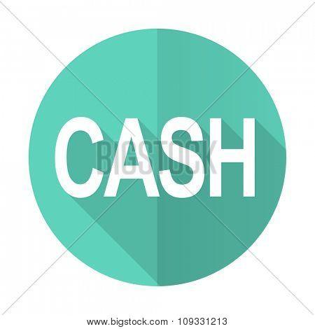 cash blue web flat design circle icon on white background