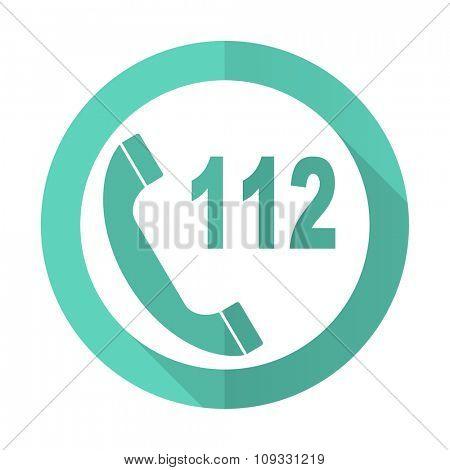 emergency call blue web flat design circle icon on white background