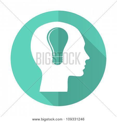 head blue web flat design circle icon on white background