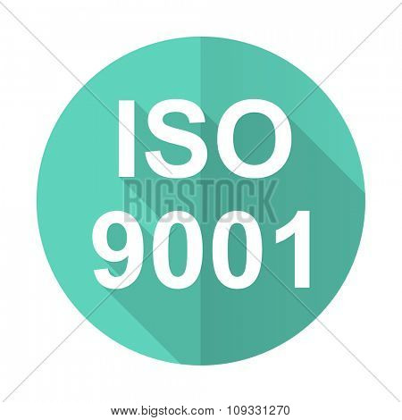 iso 9001 blue web flat design circle icon on white background
