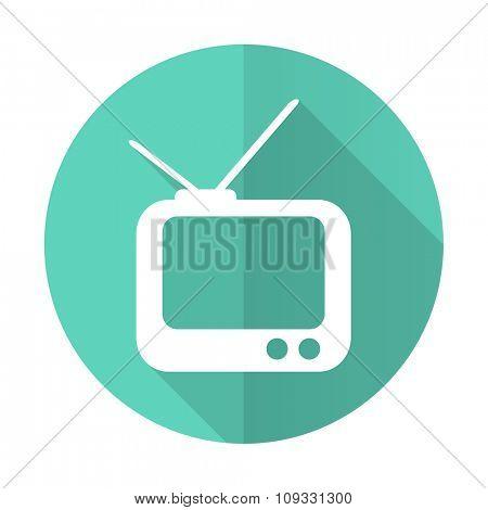 tv blue web flat design circle icon on white background