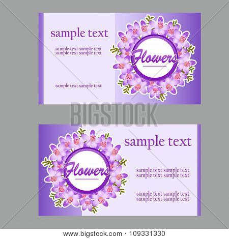 Two fresh business cards with lilac disign for your needs