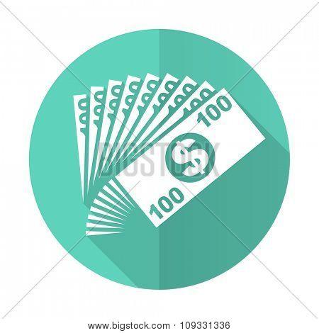 money blue web flat design circle icon on white background