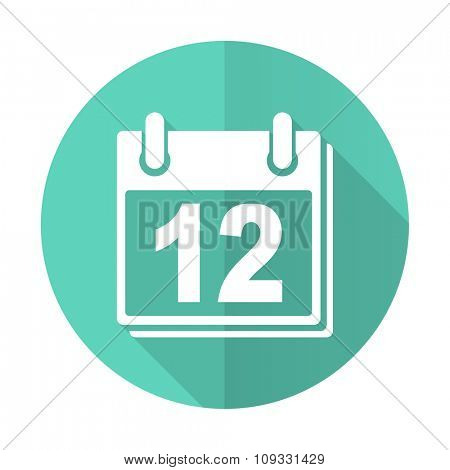 calendar blue web flat design circle icon on white background