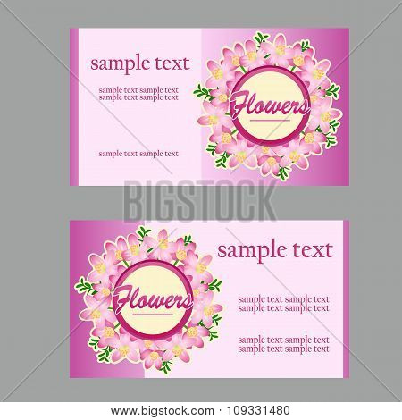 Two floral style cards with lilac disign in pink