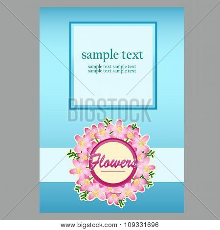 Poster in blue with space for text for your design needs