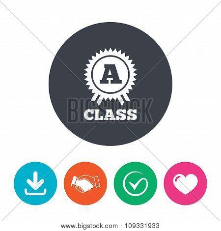A-class award sign icon. Premium level symbol.
