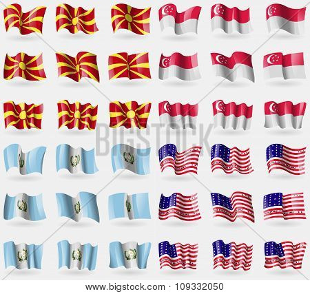 Macedonia, Singapore, Guatemala, Bikini Atoll. Set Of 36 Flags Of The Countries Of The World.