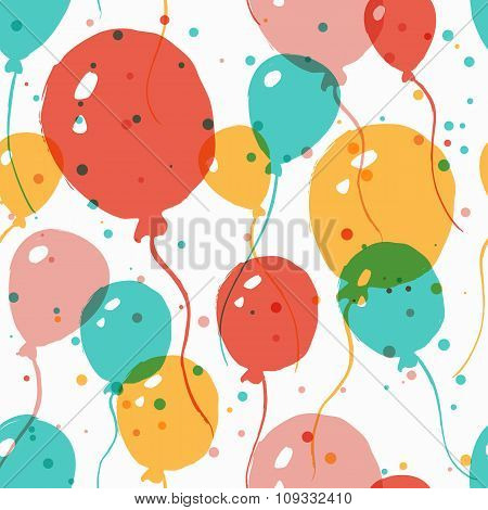 Vector  Watercolor Seamless Pattern With Multicolor Balloons. Abstract Colorful  Background.