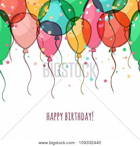 Birthday Greeting Card With Colorful Vector Air Balloons.