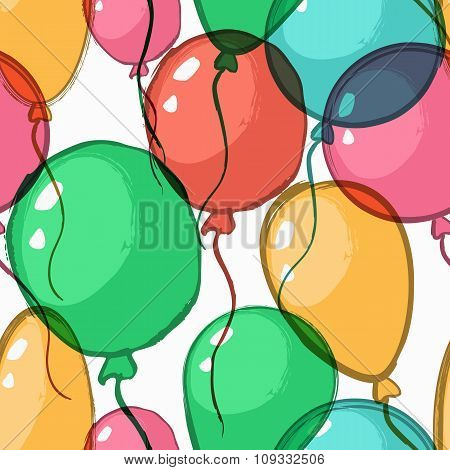 Vector Holiday Seamless Pattern With Transparent Watercolor Air Balloons.