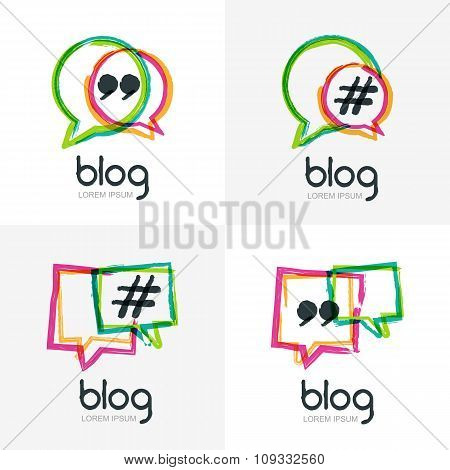 Set Of Vector Watercolor Hand Drawn Blog Icon.