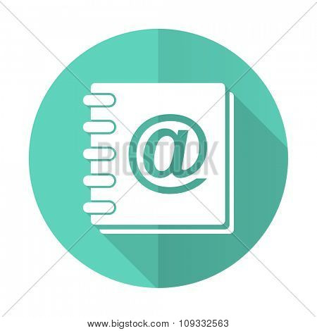 address book blue web flat design circle icon on white background