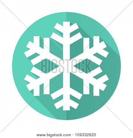 snow blue web flat design circle icon on white background