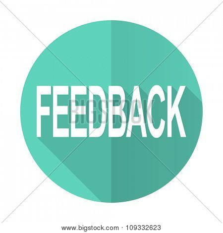 feedback blue web flat design circle icon on white background