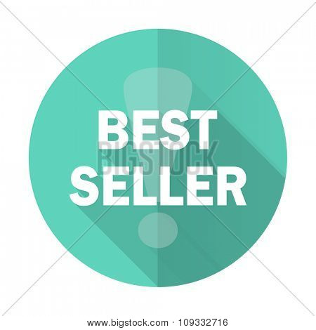 best seller blue web flat design circle icon on white background