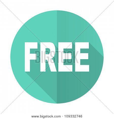 free blue web flat design circle icon on white background