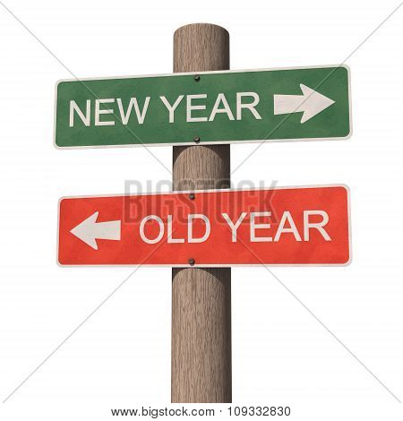 New Year And Old Year Signpost. Greeting Card. 3D Illustration