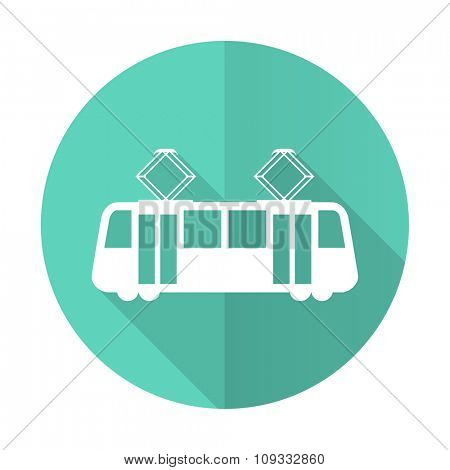 tram blue web flat design circle icon on white background