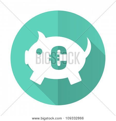 piggy bank blue web flat design circle icon on white background