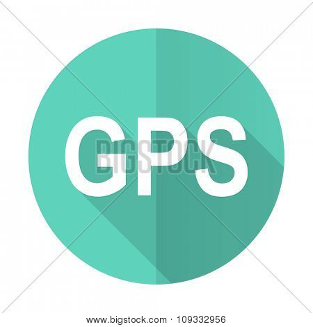 gps blue web flat design circle icon on white background