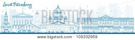 Outline Saint Petersburg skyline with blue landmarks. Business travel and tourism concept with historic buildings. Image for presentation, banner, placard and web site.