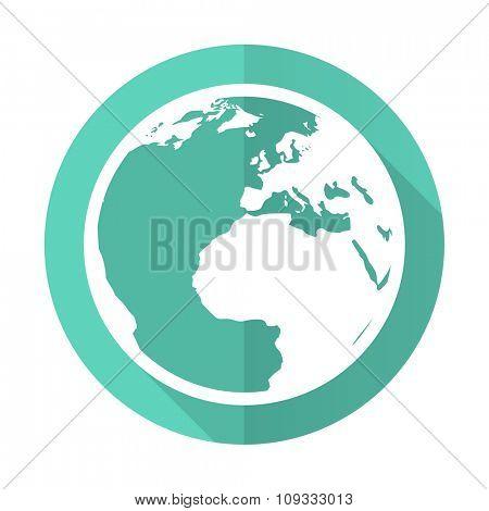 earth blue web flat design circle icon on white background