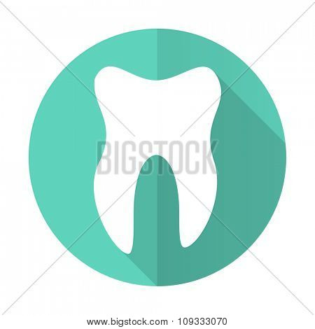 tooth blue web flat design circle icon on white background