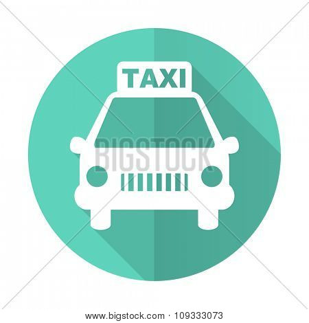 taxi blue web flat design circle icon on white background
