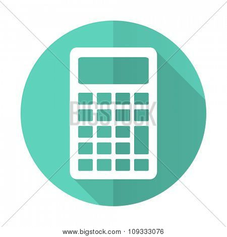 calculator blue web flat design circle icon on white background