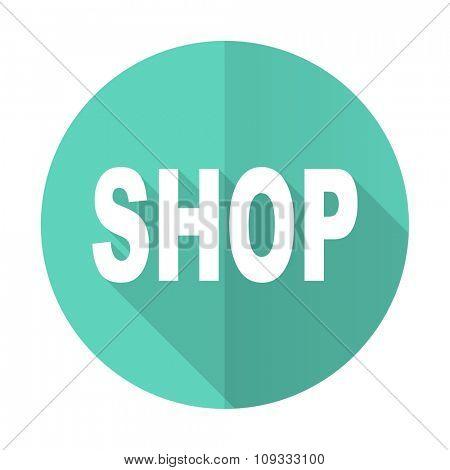 shop blue web flat design circle icon on white background
