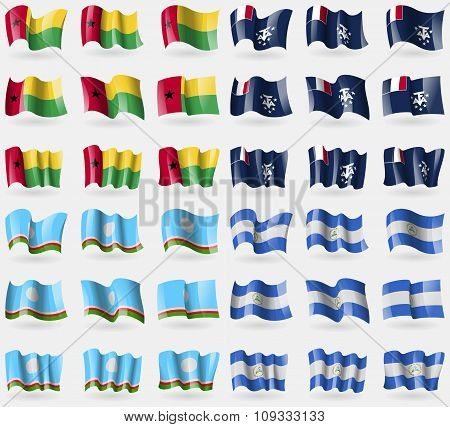 Guineabissau, French And Antarctic, Sakha Republic, Nicaragua. Set Of 36 Flags Of The Countries Of