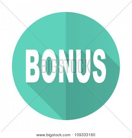 bonus blue web flat design circle icon on white background