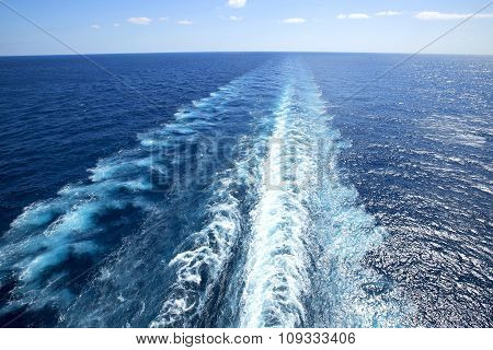 Trail On Water Surface Behind Of Cruise Ship.