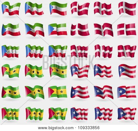 Equatorial Guinea, Denmark, Sao Tome And Principe, Puerto Rico. Set Of 36 Flags Of The Countries