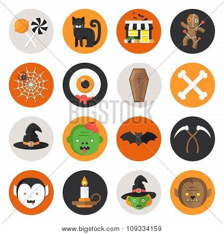 Halloween Vector Flat Icon Set part 2