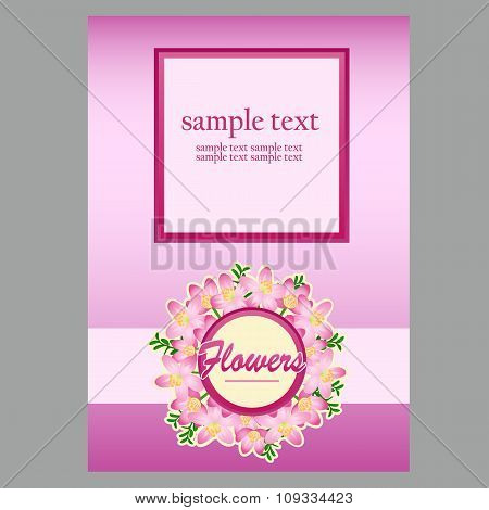 Poster for text in floral style, light pink background
