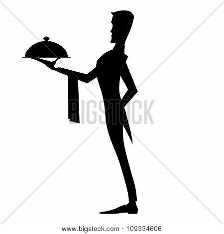 Black white silhouette elegant waiter with dish