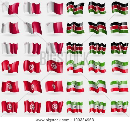 Malta,  Kenya, Tunisia, Somaliland. Set Of 36 Flags Of The Countries Of The World.