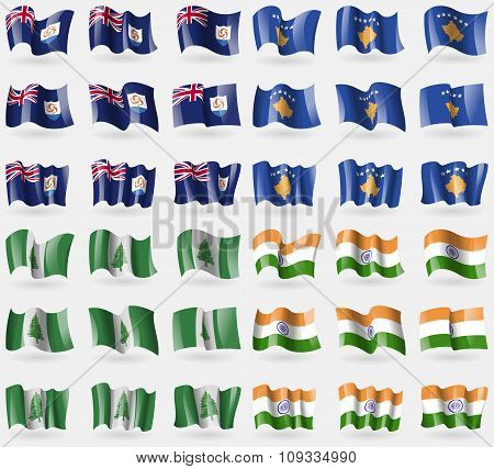 Anguilla, Kosovo, Norfolk Island, India. Set Of 36 Flags Of The Countries Of The World.