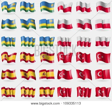 Rwanda, Poland, Spain, Turkey. Set Of 36 Flags Of The Countries Of The World.