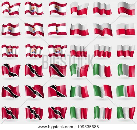 French Polynesia, Poland, Trinidad And Tobago, Italy. Set Of 36 Flags Of The Countries
