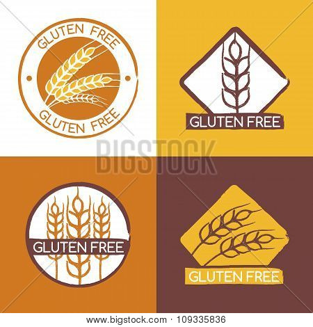Set Of Vector Gluten Free Product Badges, Labels, Stickers.
