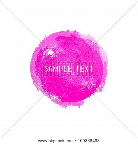 Pink Vector Watercolor Round Element