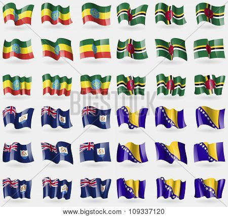 Ethiopia, Dominica, Anguilla, Bosnia And Herzegovina. Set Of 36 Flags Of The Countries