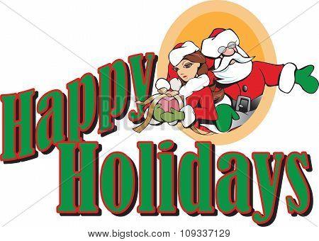 Santa And Girl Elf Happy Holidays Header