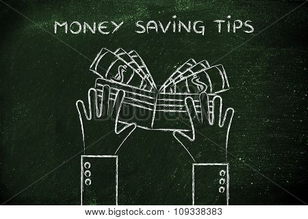 Hands Holding A Wallet Full Of Cash, With Text Money Saving Tips