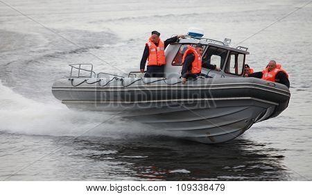 Russian Marines in a speedboat